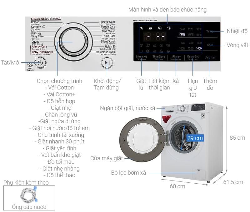 Thông tin: Máy giặt LG 8kg FC1408S5W Mẫu 2019