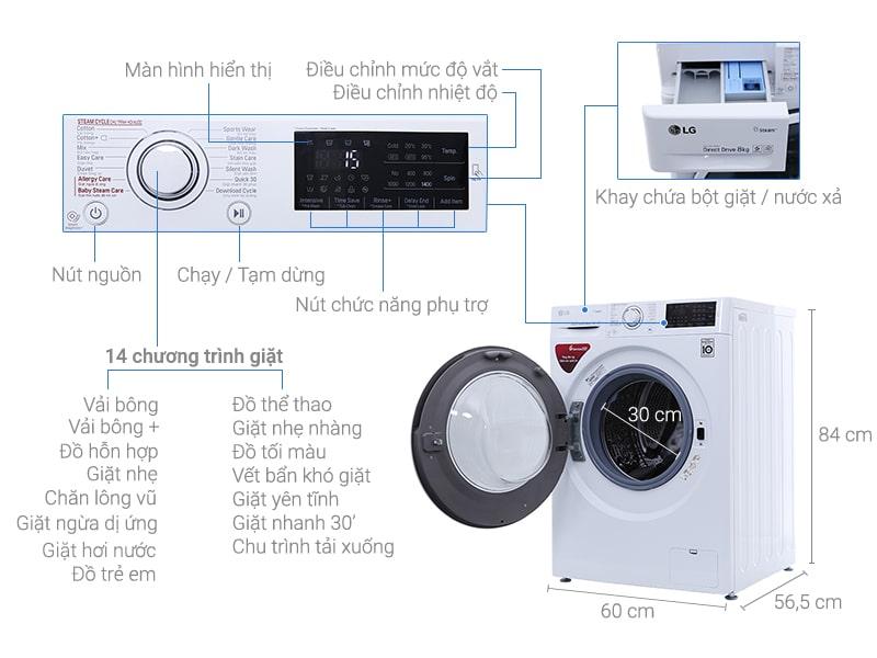 Máy giặt LG 8kg FC1408S4W2 Inverter, 6 chuyển động